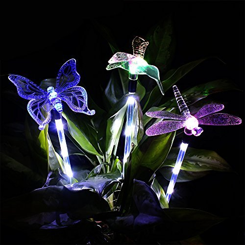 Solar Garden Lights, KUMEDA Outdoor Solar Light Multi-color Changing Decorative Lights with a White LEDs Stake Light for Garden Patio Festival 3-Pack (Butterfly,Hummingbird,Dragonfly) Review