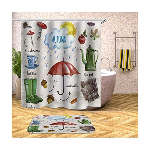 Aokarry Polyester Waterproof 2 Pack Shower Curtain and 40x60cm Rug Set Red and White Umbrella 66x72 ''