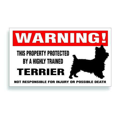 Warning Decal, Property Protected By A Highly Trained - Cairn Yorkie Terrier Dog Bumper Or Window Sticker - 5.75x3.25 inch