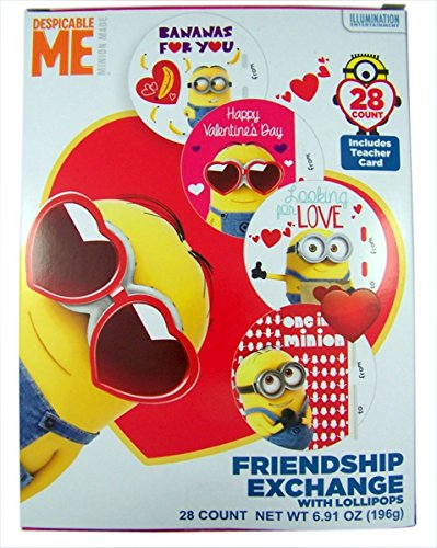 Despicable Me Minions Valentine's Day Cards with Lollipops,