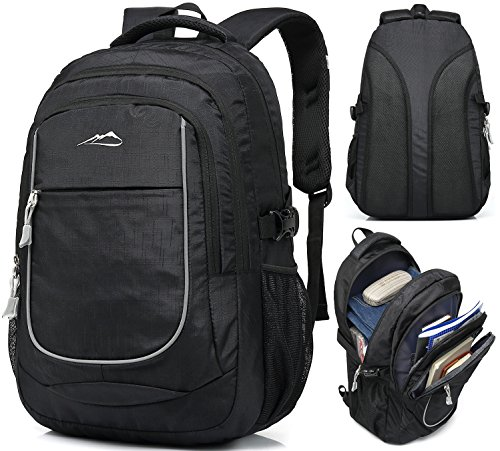 Backpack for School Bookbag College Student Travel Business Hiking Fit Laptop Up to 15.6 Inch Lightweight Night Light Reflective (Black) ()