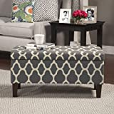 HomePop Geo Large Grey Storage Ottoman