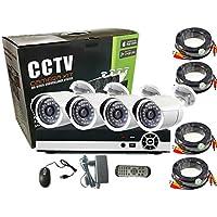 4CH AHD Camera Kit 1.3MP/720P CCTV Security Recording System Kit CCTV Kit 4PCS Metal Bullet Camera Alarm System Home Security