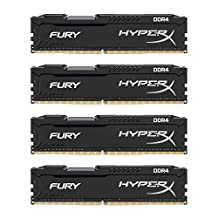 Kingston HyperX FURY Black 16GB Kit (4x4GB) 2133MHz DDR4 Non-ECC CL14 DIMM Desktop Memory (HX421C14FBK4/16)