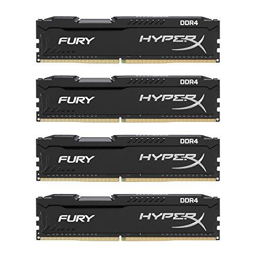 HyperX Fury Memory Black 64GB DDR4 2133MHz Kit 64GB DDR4 2133MHz módulo de - Memoria (64 GB, 4 x 16 GB, DDR4, 2133 MHz,...