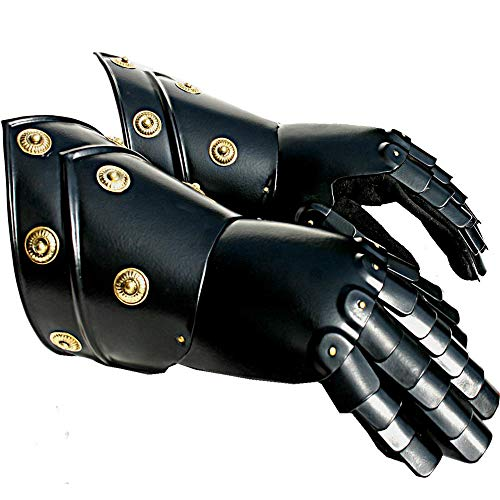 AnNafi Black Armor Gauntlets Steel Gloves| Iron Metal Medieval Knight Costume| Warrior Gauntlet Fully -