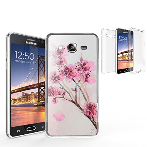 Tri Max For Samsung Galaxy On 5 SM-G550T SM-G550 360 Full Body TPU Scratch Resistant PC Transparent Clear Cherry ()
