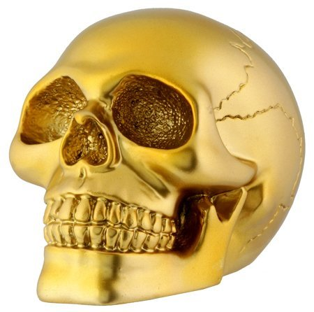 Gold Skull Head Collectible Skeleton Decoration Figurine Model