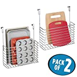 kitchen cabinet for small space - mDesign Over the Cabinet Kitchen Bakeware Organizer Basket for Cutting Boards, Baking Sheets- Pack of 2, Chrome