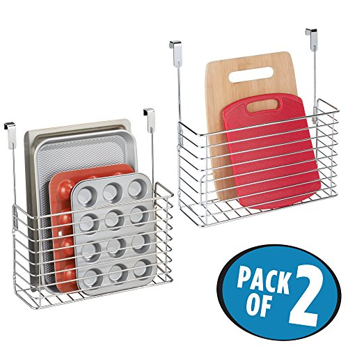 mDesign Over the Cabinet Kitchen Bakeware Organizer Basket for Cutting Boards, Baking Sheets- Pack of 2, Chrome