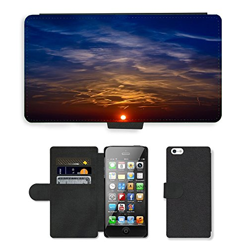 PU Leather Cover Custodia per // M00421733 Coucher de soleil Couleur Sky Afterglow // Apple iPhone 5 5S 5G