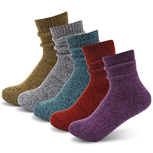 Womens 5 Pairs Warm Knit Casual Wool Socks Fashion Style Thick Knit Cozy Crew Sock Gift