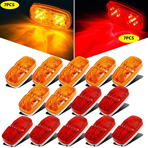 NPAUTO Trailer Side Marker Lights Double Bullseye Amber & Red 10 LED Trailer Light Bulls Tiger Eye for Truck RV Boat Camper Trailers [7 Red & 7 Amber]