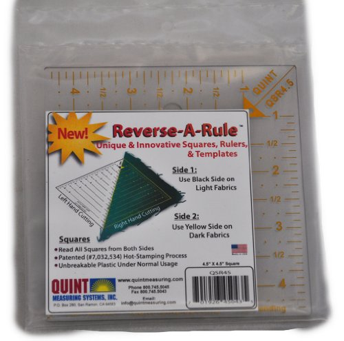 Quint Measuring Systems QSR45 Reverse a Rule Designer Series Square Ruler, 4.5-Inch x 4.5-Inch (Measuring Systems Quint)