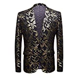 Product review for Cloudstyle Men's Sport Coat Two Buttons Slim Fit Party Blazer Golden Dinner Suit Jacket