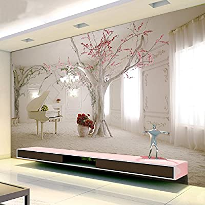 XLi-You 3D bedroom living room continental tv background wall paper romantic cherry blossom tree piano large murals