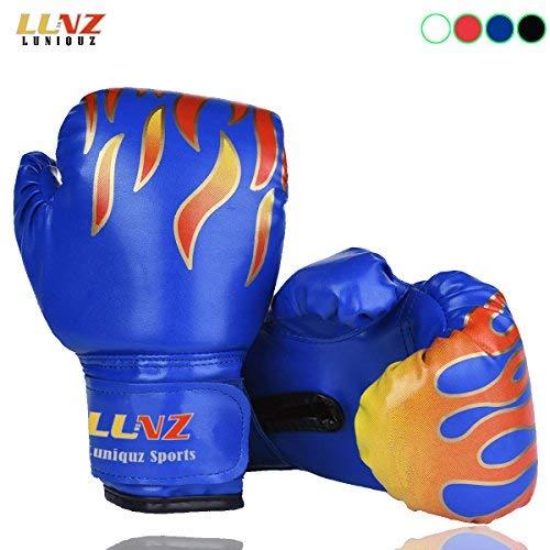 Luniquz Gant de Boxe Enfant 3-10 Ans en Cuir Gant d'Entraînement de Boxe pour MMA Muay Thai Kickboxing Sac de Frappe-6 oz