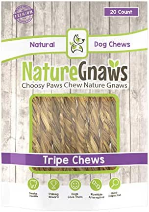 Nature Gnaws Extra Thin Tripe Twists 4-5 inch (20 Count) - 100% Natural Chews for Small Dogs