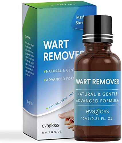 Natural Wart Remover, Maximum Strength, Painlessly Removes Plantar, Common, Genital Warts Infections, Advanced Liquid Gel Formula, Proven Results by Evagloss
