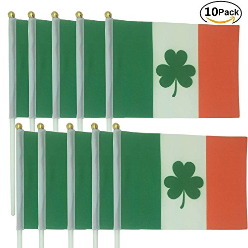 Ireland St.Patrick's Day Hand Waving Flag Procession Parade decoration-10pack