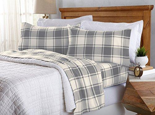 2. An extra plush plaid fleece sheet set to stay cozy.