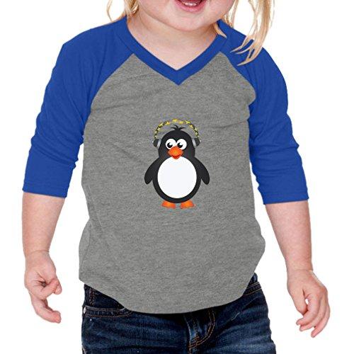 Cute Rascals Penguin Headphone Infants Jersey V Neck 3/4 Sleeve Gray Royal Blue 6 (Penguin V-neck Jersey)