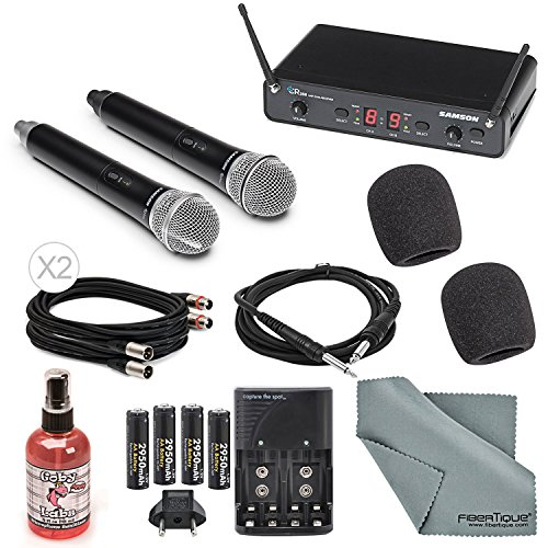 Samson Concert 288 Presentation Dual Handheld Wireless Microphone System (UHF H-Band) Deluxe Bundle W/ 2x Microphone Muffs + Cables + Microphone Sanitizer + FiberTique Cleaning (Mobility Charger Bundle)