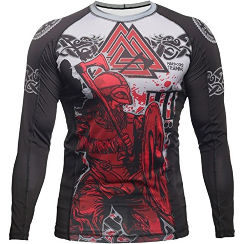 Hardcore Training Rash Guard Viking 2.0 - Men Long Sleeve - MMA UFC Grappling Cage Fight Fitness -m MMA Training Fitness Kick Boxing Gym Crossfit Black rash guard mma 12