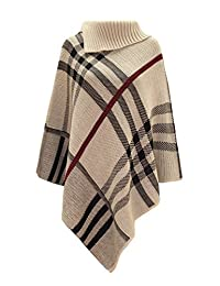 Women's Checked Knitted Winter Tartan Cape Stylished Poncho Stone One Size
