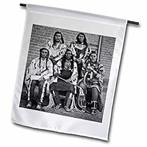 Scenes from the Past Vintage Stereoview - Crow Indian Chiefs Fargo Dakota Territory Grayscale - 18 x 27 inch Garden Flag (fl_97719_2)