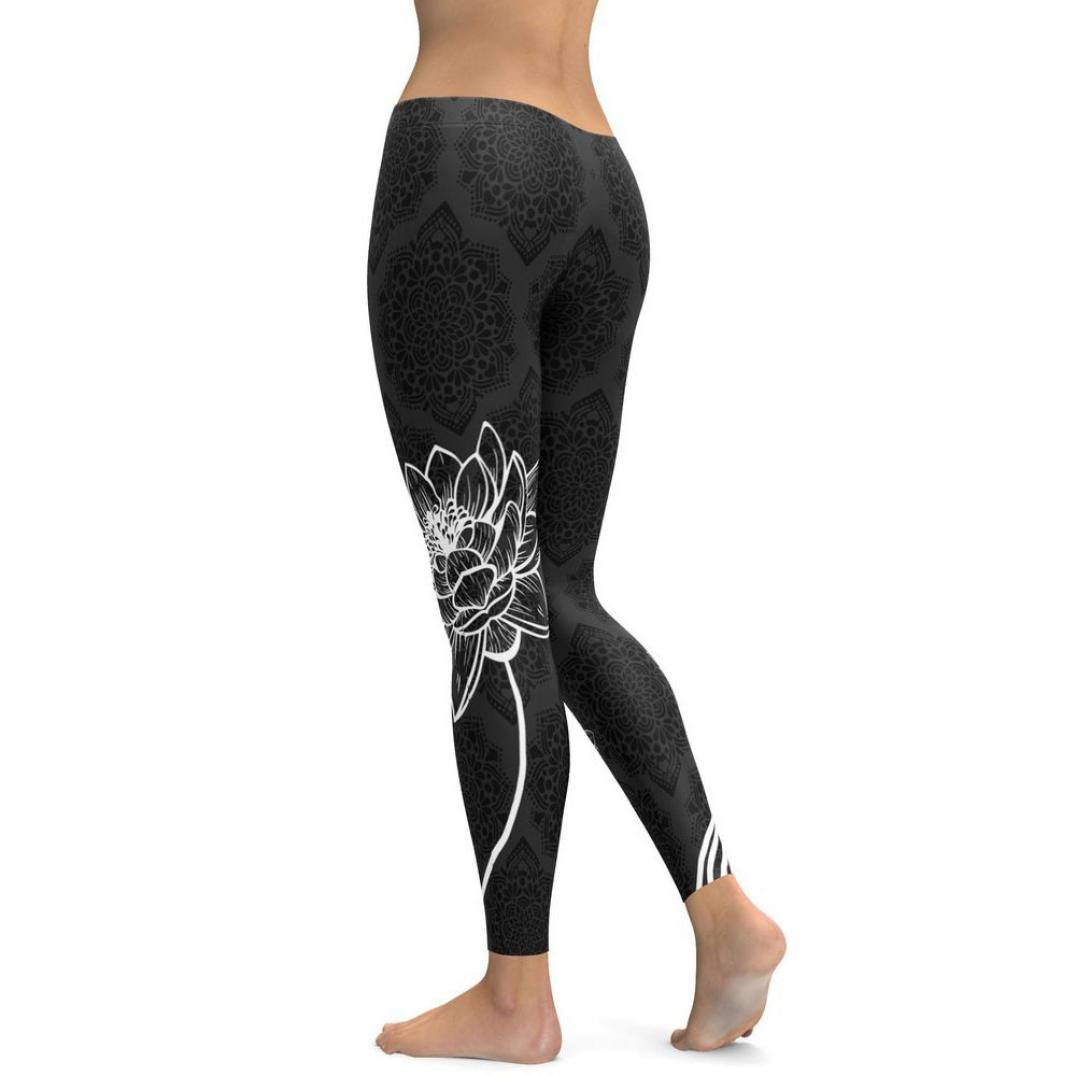 Lotus Print Workout Leggings Womens Power Flex Fitness Yoga Pants