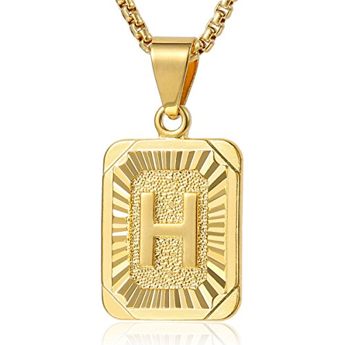 Davieslee Initial Letter A Pendant Necklace for Women Mens Chain Gold Plated Square Box Link 22inch