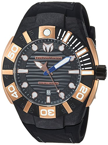 Technomarine Men's 'Reef' Quartz Stainless Steel and Silicone Casual Watch, Color:Black (Model: