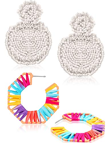 (2 Pairs Handmade Bohemian Dangle Fringe Drop Earrings Colorful Raffia Braid Thread Tassel Earrings Round Beaded Earrings Geometric Octagon Earrings for Women Girls (Style J))