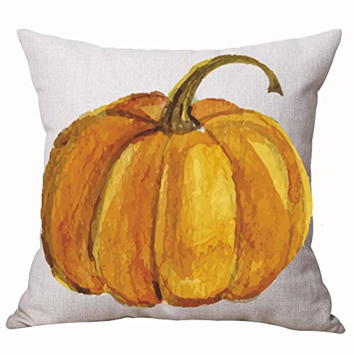 Autumn Happy Fall Yall Pumpkin Watercolor Cotton Linen Throw Pillow Cover Cushion Case Home Chair Office Decorative Square 18 X 18 inches