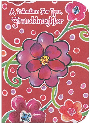 Large Flowers with Sparkling Green Stems: Granddaughter - Designer Greetings Valentine's Day Card