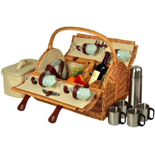 - Picnic at Ascot Yorkshire Willow Picnic Basket with Service for 4, with Coffee Set - Gazebo
