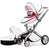 Baby Stroller 2016, Hot Mom 3 in 1 travel system and Bassinet Combo,White