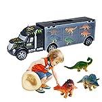 Kasenxet Childrens Day Gift 6 pcs Dinosaurs Toys Dinosaur Truck Dragon Toys Children Toy Car Transport Car Carrier Truck Toy