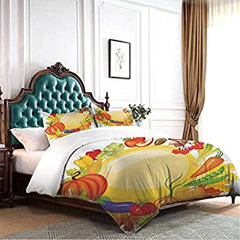 Image of dsdsgog Bedding Set Harvest,Dinner at Thanksgiving Fall Color Theme Plate and Cutlery Various Seasonal Food,Brown Orange 90x104 inch Hypoallergenic Home and Kitchen
