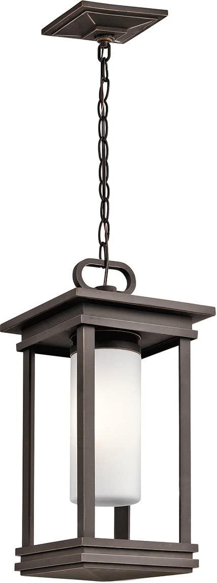 Kichler 49493RZ South Hope Outdoor Pendant, 1 Light Incandescent 100 Watts, Rubbed Bronze
