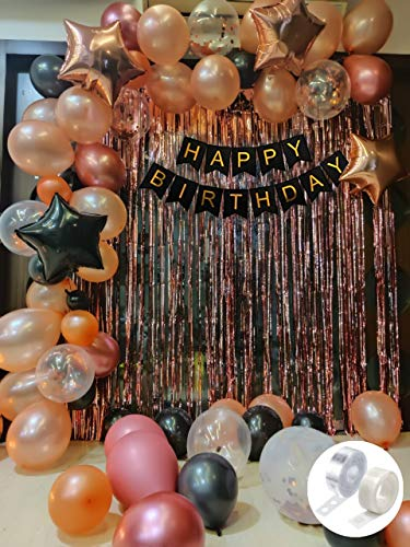 Party Propz Rose Gold Birthday Decorations Combo Black Banner With Confetti Balloons, Star Foil Balloons, Foil Curtain for 1st 18th 21st 25th 50th 60th 30th Decorations – Set of 68