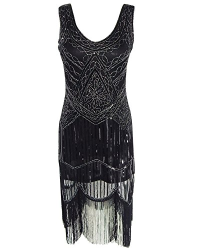 Whoinshop Women Vintage Sequin Art Nouveau Deco High Low Fringe 1920s Style Flapper Dress Black L (Simple Renaissance Dress Patterns)