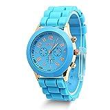 Estone Classic Womens Girls Geneva Silicone Jelly Gel Quartz Analog Sports Wrist Watch (Blue)
