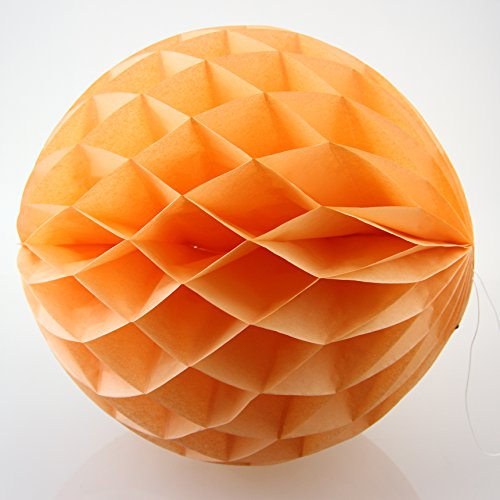 [UMISS DECOR Light Orange Tissue Honeycomb Balls Wedding Party Decor in 12