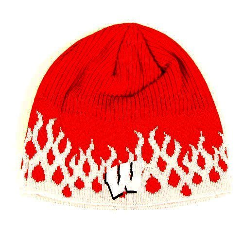 68a047a77c206 Wisconsin Badgers Red Fire Flame Skull Cap - NCAA Cuffless Winter Beanie Knit  Hat