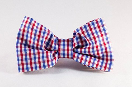 Preppy Red White and Blue Gingham Dog Bow Tie, Ole Miss Rebels 51qac68AqPL