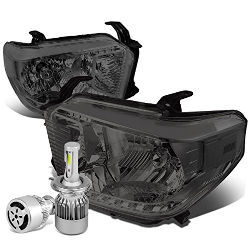 For Tundra 2nd Gen Facelifted Pair of Smoked Lens Clear Corner Headlight + H4 LED Conversion Kit