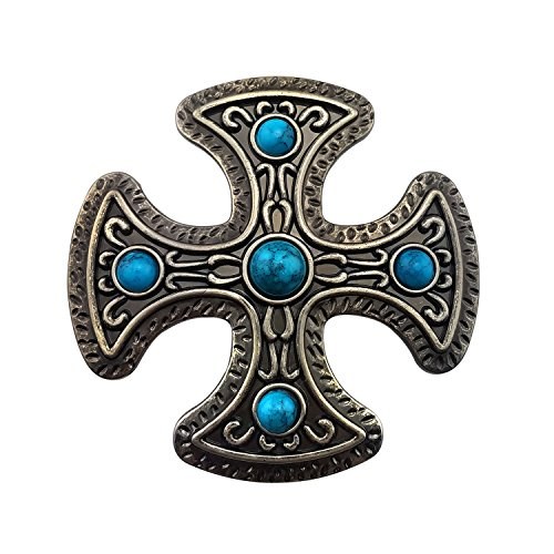 Lanxy Native American Western Cross Blue Stone Turquoise Belt Buckle For (Turquoise Cross Belt)