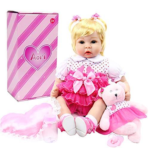 Aori Lifelike Reborn Baby Girl Dolls Handmade 22 Inch Soft Vinyl Reborn Toddler Set for Girls Age 3